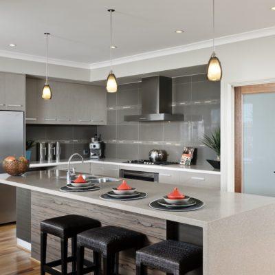 WA Country Builders - Toorak open-plan kitchen with waterfall edge island bench-top
