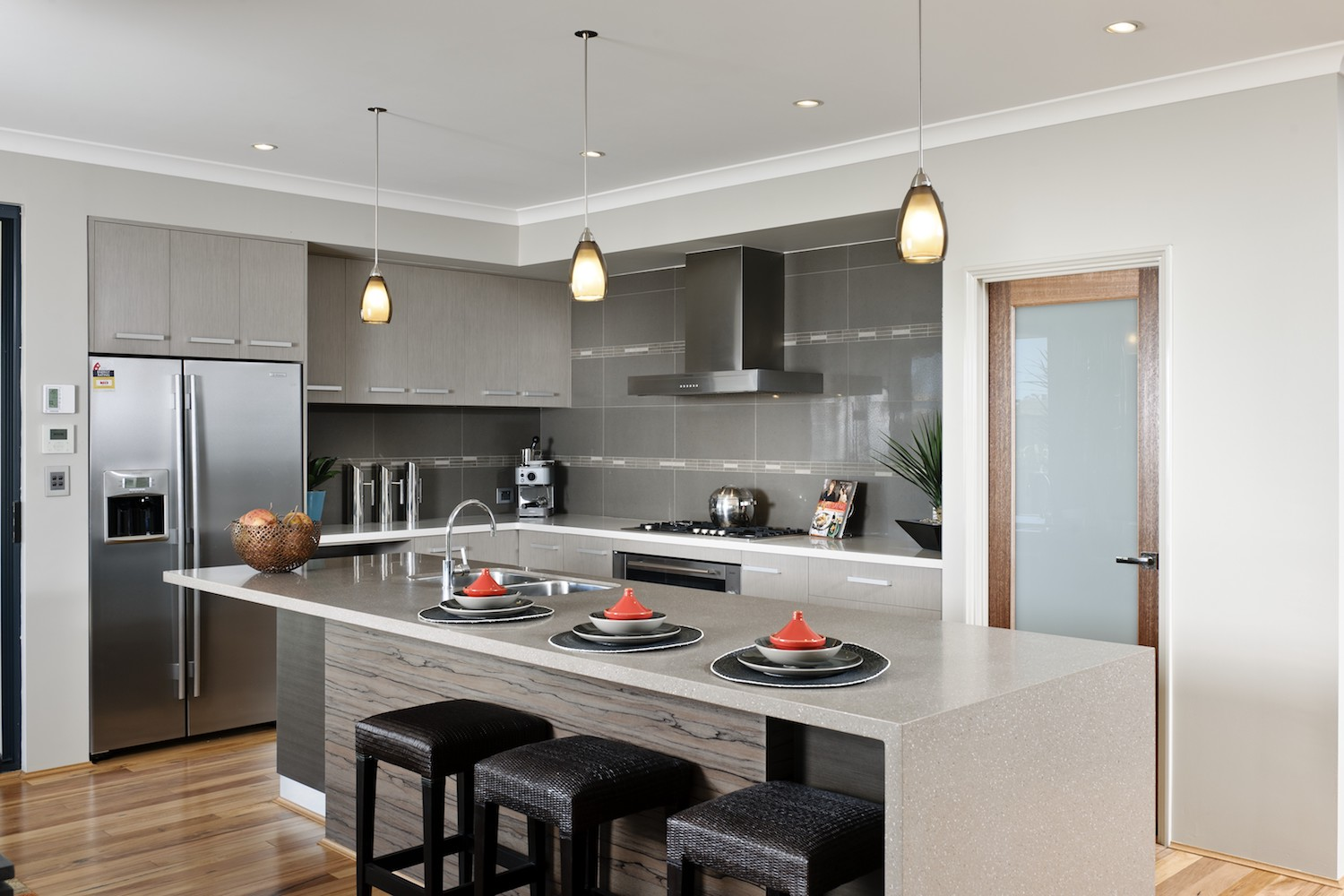 WA Country Builders - Toorak open-plan kitchen with waterfall edge island bench-top
